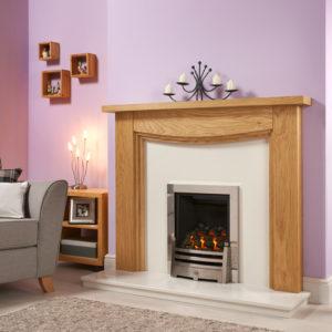 3 Step Arch Oak Fireplace Package