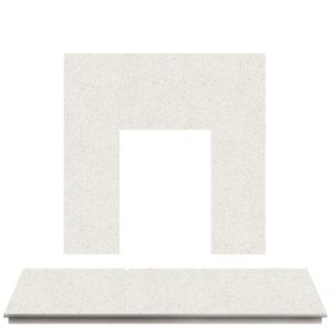 Blanco Micro Marble Fireplace Hearth Set