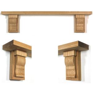 Capped Corbel Oak Fireplace Shelf