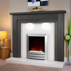 Cheltenham Solid Oak fireplace shown in black oak finish with downlights and a Italian Polare marble set