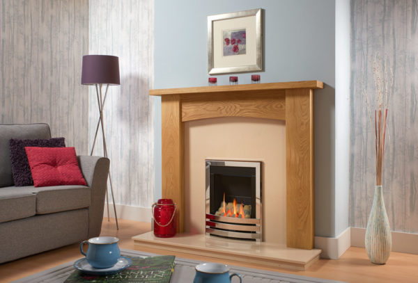 Contemporary Arch Oak Fireplace Full Package