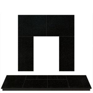 Polished Granite Slabbed Fireplace Hearth Set For Open Fires