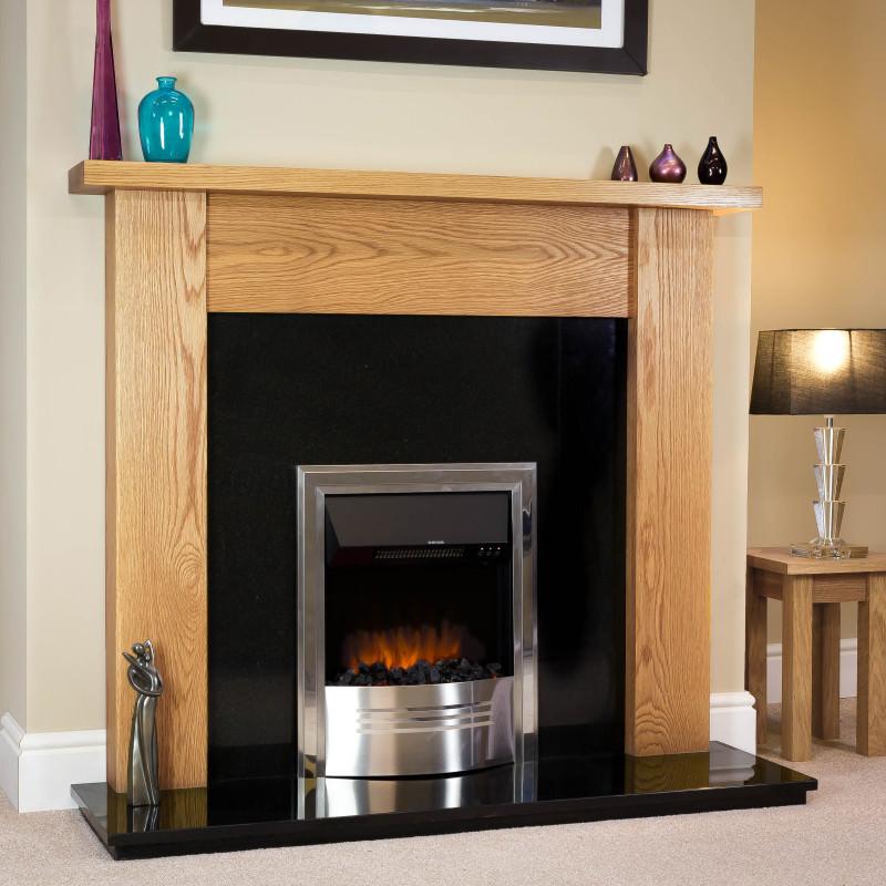 Straight Solid Oak Electric Fireplace Full Package Oak Fire