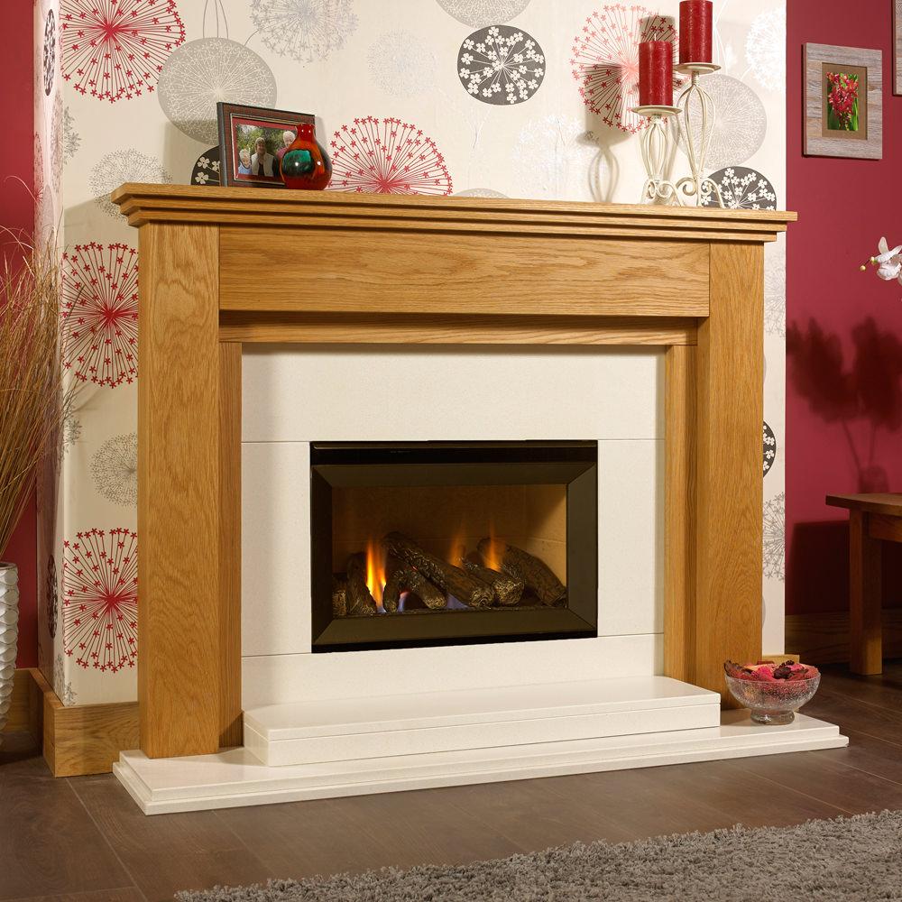 Toulouse Solid Oak Designer Gas Suite Oak Fire Surrounds