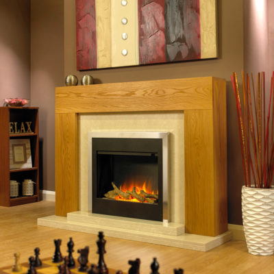 Verona solid oak electric suite shown with an electric fire with a log fuel bed, nacarado marble back panel and double hearth.