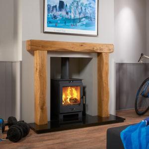Waney Edge Upton Oak Beam Fireplace Package