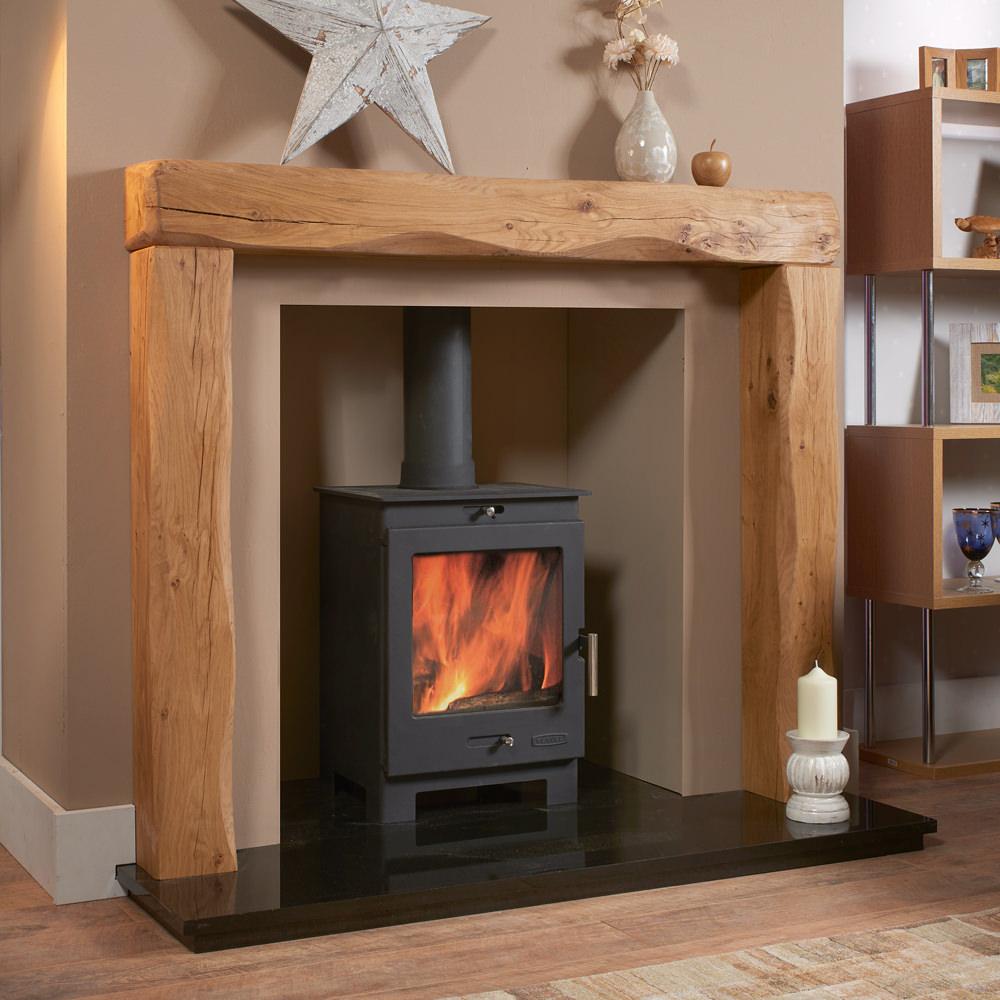 Waney Edge Chester Rustic Solid Oak Beam Fireplace Oak
