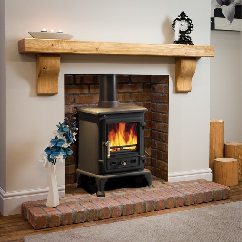 Curved Corbel Oak Beam With Brick Chamber Full Stove