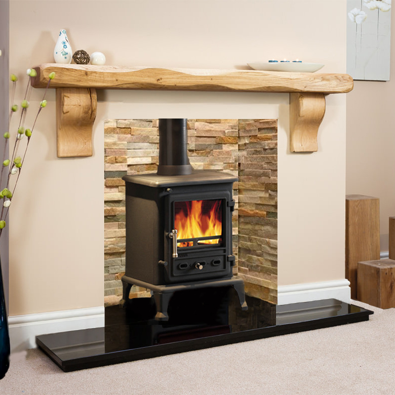 Waney Curved Corbel Oak Beam With Oyster Chamber Full Stove