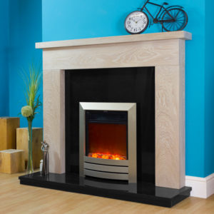Dover oak fire surround shown in a Limed finish with a Celsi XD camber in champagne.