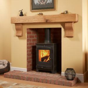 Rustic Square Curved Corbel Oak Mantel Shelf
