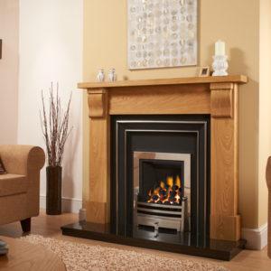 Capped Corbel Oak Fireplace Package