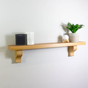 45mm Thick Oak Shelf with Curved Corbels