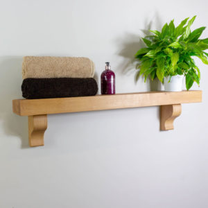 70mm Thick Oak Shelf with Curved Corbels